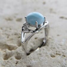 Size 7 3/4, Size O, Size 55, Blue LARIMAR Ring, w/ CZ, 925 STERLING SILVER #0477