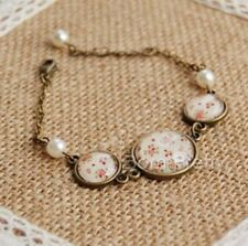 1Pc Bronze Glass Gemstone Pearl Floral Time Pattern Chain Link Bracelet Bangle