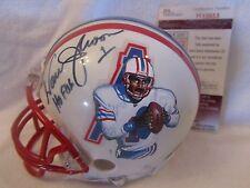 Warren Moon Autographed Hand Painted Houston Oilers Mini Helmet - JSA Cert