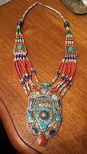 "CORAL & turquoise LAPIS  NEPALI necklace 20"" US SELLER Silver ol & TIBET SILVER"