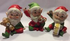 Vintage Set Of 3 Homco Elves #5618 Gnomes Holiday Christmas Drum Taiwan