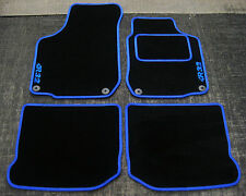 "Car Mats in Black with Blue Trim to fit VW Golf Mk4 + Blue ""R32"" Logos + Fixings"