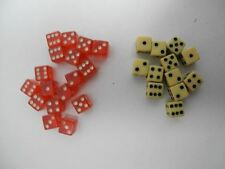 "Vintage 1950's Assortment of 16 Red and 12 White 1/4"" Mini Miniature Dice"