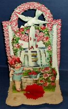 """Germany ANTIQUE VICTORIAN 10"""" HONEYCOMB VALENTINE~Wishing Well,Google Eyes~3-D"""