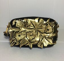 =QUIRKY= MARNI $2190 Metallic Gold Flower Leather Black Suede Clutch Strap Bag