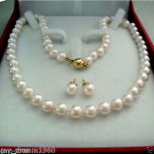 """New Genuine 8MM White South Sea Shell Pearl Necklace 18"""" + Earring A Set"""