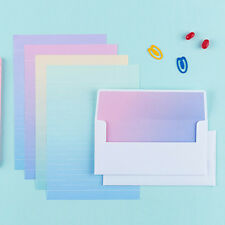 Beautiful Rainbow Letter set - 4sh Lined writing stationery paper 2sh Envelope