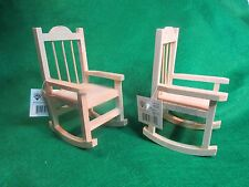 Two Unfinished Wood Decorative Mini Adirondack Rocking Chairs