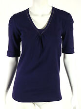 BRUNELLO CUCINELLI Purple Cotton Monili Chain Trim Short Sleeve Top L