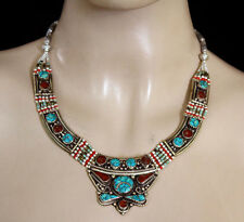 Handmade Sterling Silver Necklace Asian Fashion Jewelry Turquoise Tribal N109
