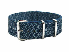 HNS ZULU 20mm Double Graphic Printed Indigo Sashiko Waves Nylon Mod Watch Strap