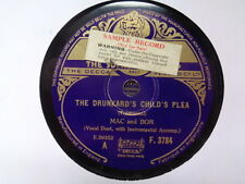 MAC AND BOB - Drunkard's Child's Plea / Orphan Boy 78 rpm disc (A+)