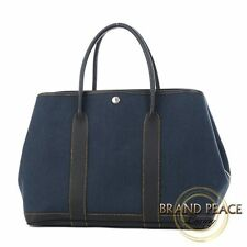 Hermes Garden party PM canvas and calf Navy/ Black P stamped Free Shipping
