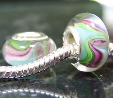 1 x Pink, green and blue glass spacer EUROPEAN charm bead