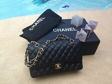 Chanel Medium Black 2.55 Caviar Leather Classic Double Flap Bag Gold hardware