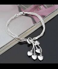 Women's 925 Sterling Silver Bijoux Multi Heart Snake Chain Bracelet Jewellery
