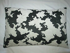 Quality Animal Print Design Chenille Cushion Pillow Cover - Cow  Black & Grey