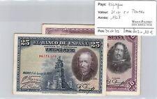 2 BILLETS  ESPAGNE - 25 ET 50  PESETAS 1928