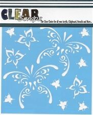 """Clear Scraps 6"""" stencil """"Butterfly Tear Drop""""for airbrush, decorative tole paint"""