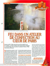 Fire Feu Atelier Confection du Sentier Paris France Pompiers FICHE FIREFIGHTER