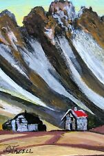 """A444 ORIGINAL ACRYLIC ART ACEO PAINTING BY LJH ONE-OF-A-KIND """"IRELAND LANDSCAPE"""""""