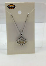 NWT Fossil Double Heart Necklace Silver Stainless Steel Hearts FREE SHIPPING