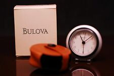 Bulova Travel Alarm Clock B6639 Leather Cover Box/Papers Easy-To-Use Loud Beep