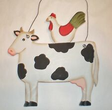 pRiMiTiVe CoUnTrY COW With Hen Chicken Farm Home Decor