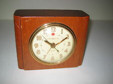Vintage GE Art Deco Electric Alarm Clock Wood General Electric Model 7H162 Works