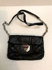 Women's Black Calvin Klein CK Quilted Leather Crossbody Small Bag Silver Chain