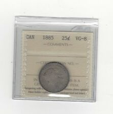 **1885 Curved Top 5**, ICCS Graded Canadian, Silver 25 Cent, **VG-8**