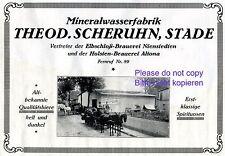 Mineralwasser Fabrik Scheruhn Stade Reklame 1927 Pferde Fässer Wasser Bier