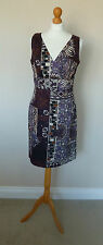 S. Oliver Collection Purple Cream Brown Black Abstract Cotton Dress Size 12 VGC