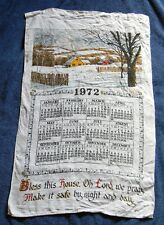 VINTAGE 1972 LINEN CALENDAR KITCHEN TOWEL BLESS THIS HOUSE OH LORD WE PRAY