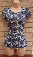 DOROTHY PERKINS WHITE BLUE FLORAL PRINT PEPLUM BLOUSE TUNIC TOP CAMI 10 S