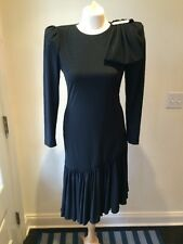 80s Vtg CATTIVA Saks Fifth Avenue Black Cocktail Prom Ruffle Dress Bow Sz 6 EUC