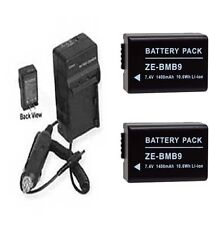 Two 2 BP-DC9 BP-DC9E BP-DC9U Batteries + Charger for Leica V-LUX 2 V-LUX 3