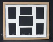 LARGE BEECH/SILVER MULTI PICTURE AND PHOTO FRAME (50cm x 40cm)
