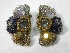 Vintage MIRIAM HASKELL Designer Signed Clip On Earrings Costume Jewelry