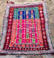 Colourful Vintage moroccan boucherouite Rag 150 X 121cm