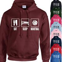 EAT, SLEEP, BASKETBALL HOODIE ADULT/KIDS - PERSONALISED - TOP HOOPS BASKET GIFT