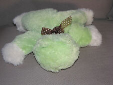 CARTERS FLUFFY FLOPPY BEAN BAG FROG STUFFED PLUSH BABY TOY LOVEY BROWN DOT BOW