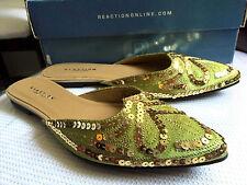 NIB Kenneth Cole Sequin Beaded Indian Haan Mojari Sandals Slip-on Green Gold 5.5