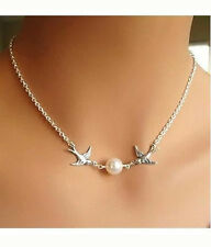 Birds And Faux Pearl Bead  Chain Necklace Wedding/Prom Necklace