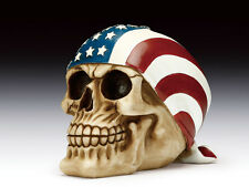 SKULL WITH USA FLAG HEADSCARF  FIGURINE STATUE  HALLOWEEN
