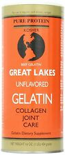 Great Lakes Unflavored Beef Gelatin Collagen  16 oz Can - Kosher - 2 Count