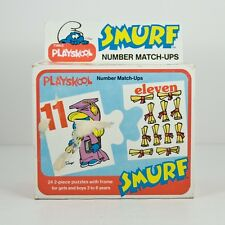 Vtg 1982 Playskool Smurf Number Match-Ups Math Educational Puzzle Boxed