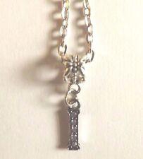 collier chaine argenté 46 cm avec pendentif lettre strass I