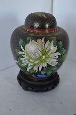 Vtg Black Chinese Cloisonne Enamel Ginger Jar Cherry Blossom Flower Wood Stand