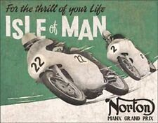 Norton Motorcycles-Isle Of Man Grand Prix TIN SIGN Vintage Garage Poster Decor